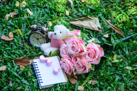 silently: the notebook and pink heart marshmallows and white teddy bear and vintage clock and bouquet of pink rose on the greensward.the rose speaks of love silently, in a language known only to the heart.