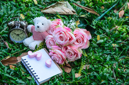 speaks: the notebook and pink heart marshmallows and white teddy bear and vintage clock and bouquet of pink rose on the greensward.the rose speaks of love silently, in a language known only to the heart.