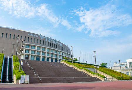 retractable: Fukuoka, Japan - June 30, 2014: Yahuoku stadium.the stadium was originally named Fukuoka Dome . It was Japans first stadium with a retractable roof. In 2005
