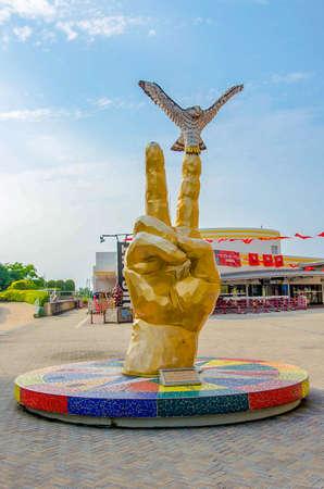 Fukuoka, Japan - June 30, 2014: Sculpture in front of Fukuoka Softbank Hawks