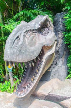 Singapore, Singapore - September 21, 2014:Tyrannosaurus Rex Dinosaur head  in jurassic Park theme Universal Studios Singapore