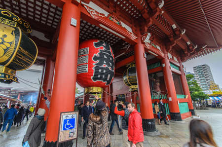 Tokyo, Japan - November 19, 2016 : The Senso-ji Temple in Asakusa, Tokyo, Japan . The Senso-ji Temple in Asakusa is the most famous temple in Tokyo . Editorial