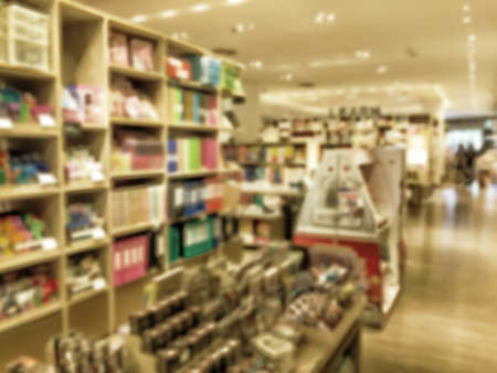 abstract academic: Vintage style color tone.Blur image of a bookstore .