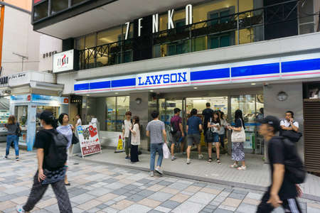 TOKYO , JAPAN  - July 26, 2017 : Lawson store in Harajuku district  Tokyo , Japan. There are 9,065 Lawson brand stores in Japan .