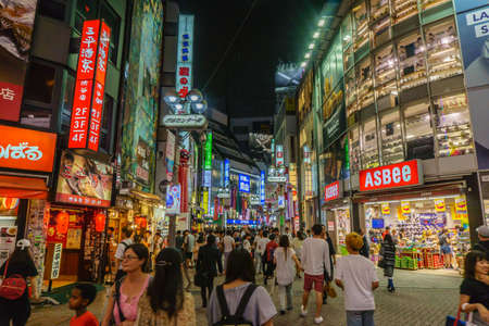 TOKYO , JAPAN - July 26, 2017 : Shibuya shopping street district in Tokyo, Japan. Shibuya is known as one of the fashion centers of Japan for young people, and as a major nightlife area.