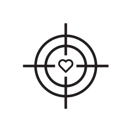 Target with heart icon Vector illustration, EPS10 .