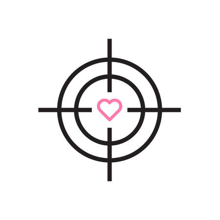 Target with heart icon Vector illustration