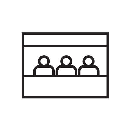 Sales booth icon on white backdrop illustration.