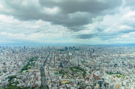 Aerial View of Osaka city from Abeno Harukas .