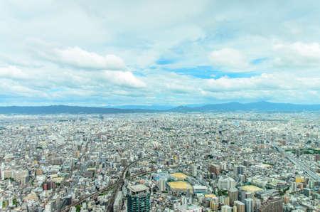 View of Osaka city from Abeno Harukas in Osaka, Japan
