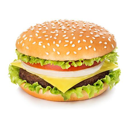 Hamburger geïsoleerd op witte achtergrond  Stockfoto