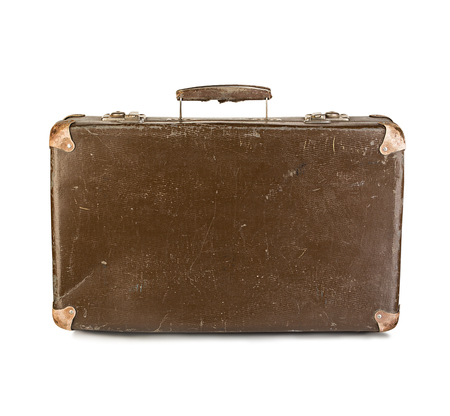 antique suitcase: old suitcase close-up isolated on a white background Stock Photo