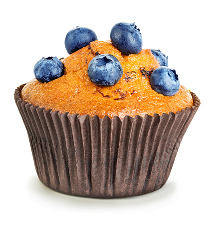 Muffin close-up geïsoleerd op een witte achtergrond