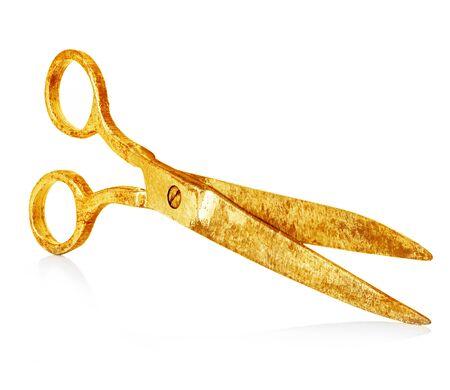 tijeras: Tijeras de oro de la vendimia de primer plano aislado en un fondo blanco Foto de archivo