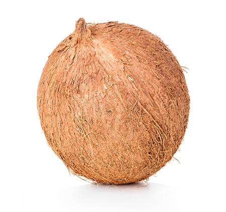 marrón: Coco aislado sobre fondo blanco Foto de archivo