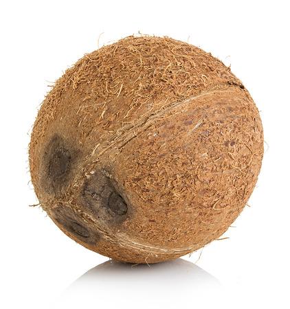 Kokosnoot geïsoleerd op een witte achtergrond