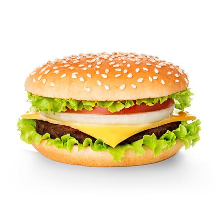 白い背景で隔離のハンバーガー