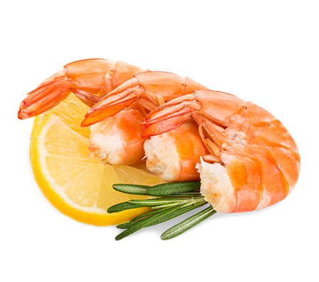 Tiger shrimps with lemon slice and rosemary. Prawns with lemon slice and rosemary isolated on a white background. Seafood Imagens