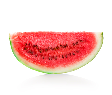 sliced watermelon: slice of watermelon close-up isolated on a white background