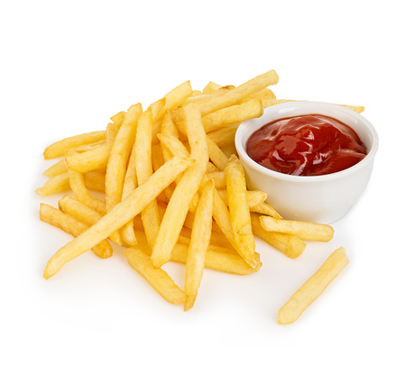 Potatoes fries with ketchup close-up isolated on a white background. Archivio Fotografico