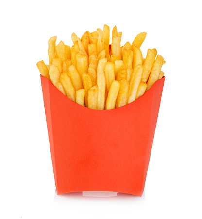 potato chip: Potatoes fries in a red carton box isolated on a white background. Fast Food.
