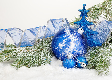 beautiful blue christmas balls on frosty fir tree christmas ornament stock photo 48366956 - Frosty Blue Christmas Decorations