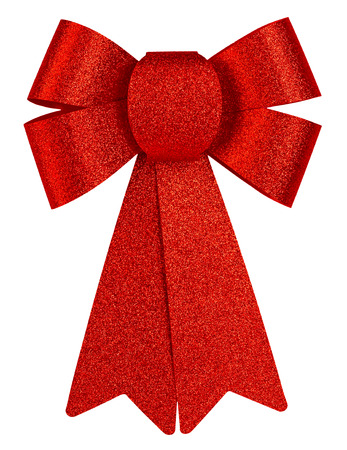 silk bow: Red brilliant gift bow with glitter close-up isolated on a white background.
