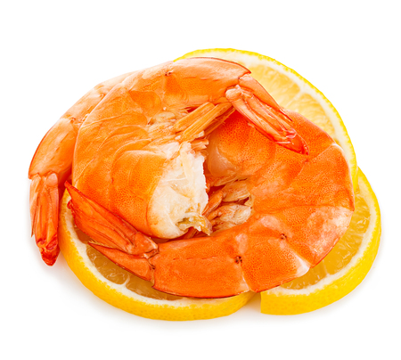 aphrodisiac: Tiger shrimps with lemon slice . Prawns with lemon slice isolated on a white background. Seafood