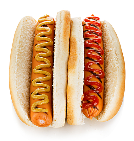 wiener dog: Big tasty appetizing Hot dogs close-up isolated on a white background. Fastfood.