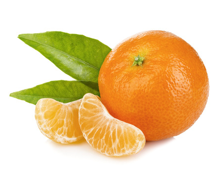 Ripe mandarin with leaves close-up on a white background. Tangerine orange with leaves on a white background. Reklamní fotografie - 51159826