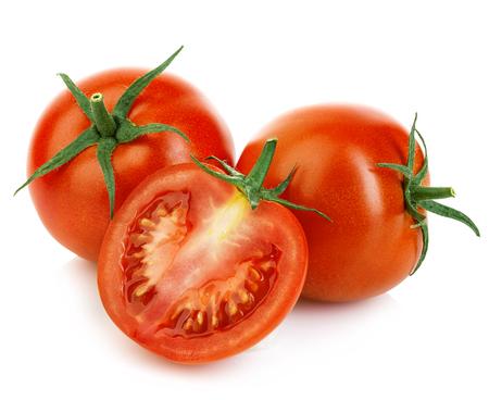 tomatos: Fresh ripe red tomatoes isolated on white background. Stock Photo