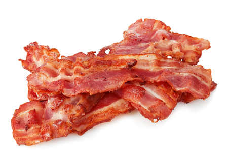 streaky: Cooked bacon rashers close-up isolated on a white background.