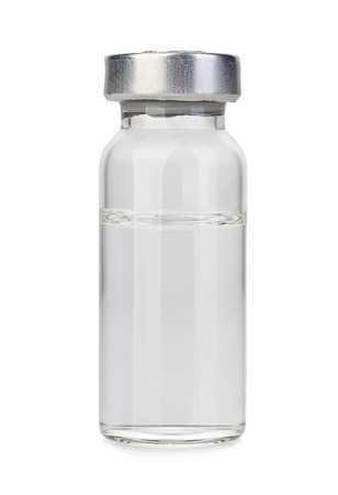 Glass vial medical close-up isolated on a white background. Stock Photo