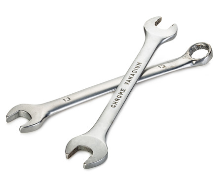 chrome vanadium: Two metal wrenches close-up isolated on a white background. Stock Photo