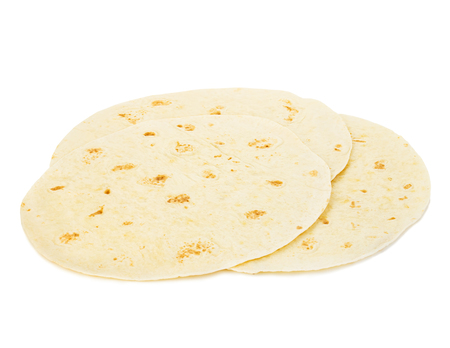 tortillas: Round wheat tortillas close-up isolated on white background. Lavash. Stock Photo