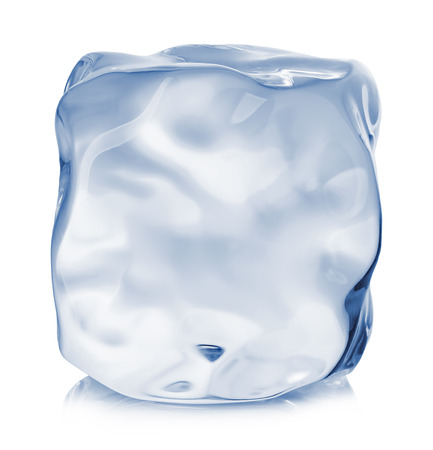 refrigerate: Ice cube close-up isolated on a white background.