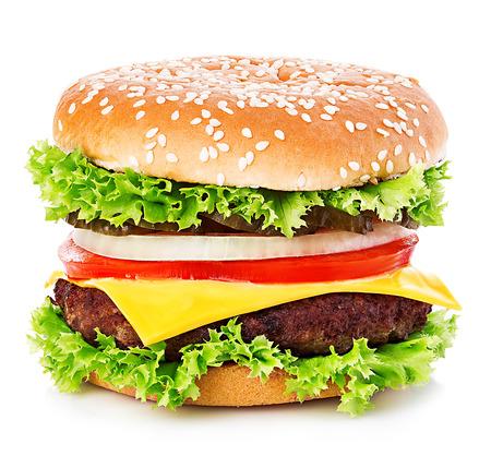 Big burger, hamburger, cheeseburger close-up isolated on a white background. Stock Photo