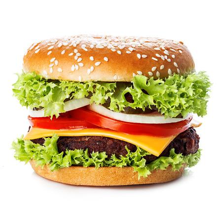 大きなロイヤル食欲をそそるハンバーガー、ハンバーガー、チーズバーガー クローズ アップ ホワイト バック グラウンド上に分離します。