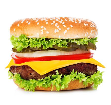 大きなハンバーガー, ハンバーガー、チーズバーガー クローズ アップ ホワイト バック グラウンド上に分離します。