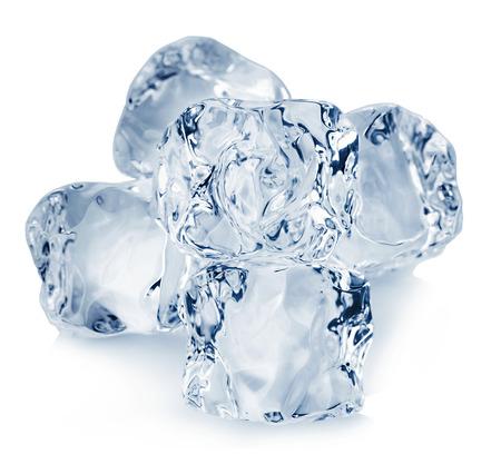 氷のキューブのクローズ アップは、白い背景で隔離。クリッピングなで。 写真素材