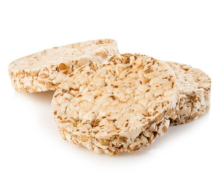 Grain crispbreads close-up isolated on a white background. Fitness concept. 免版税图像
