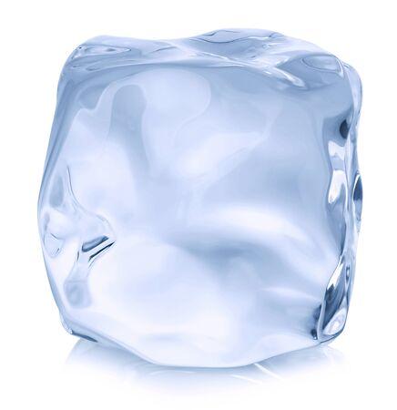 Ice cube close-up isolated on white background.