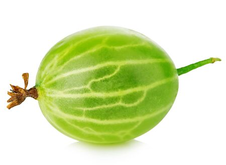 Fresh green gooseberry close-up isolated on a white background.