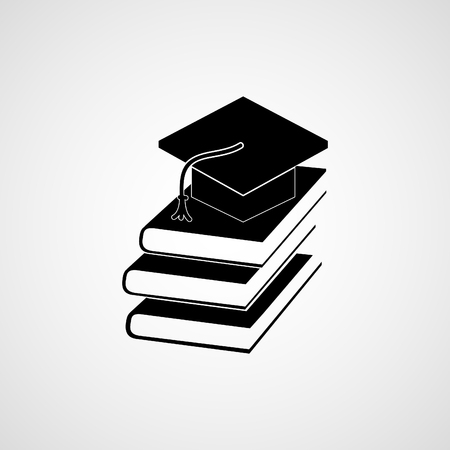 undergraduate: book and student vector icon, Flat design style Illustration