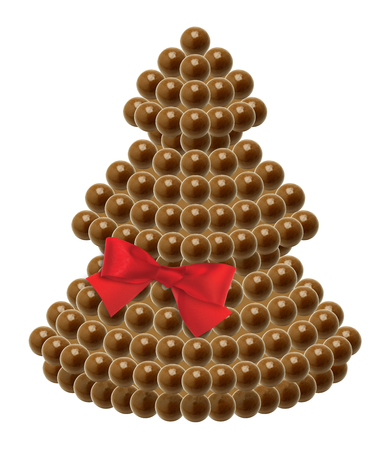 Chocolate Christmas tree with red ribbon on white background photo