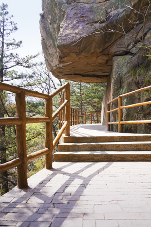 Morning scenic nature trail, stairway footpath in Laoshan, Qingdao, China. It is a popular attraction.
