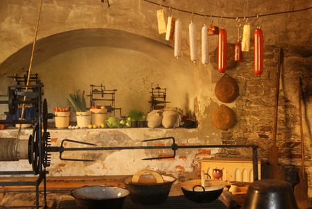 medieval kitchen with fireplace
