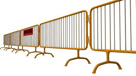 roadblock: metal fence construction site fence roadblock
