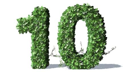 number 10: Number 10 alphabet of green ivy leaves