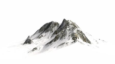 montañas nevadas: Pico nevado Montañas Montaña separado sobre fondo blanco